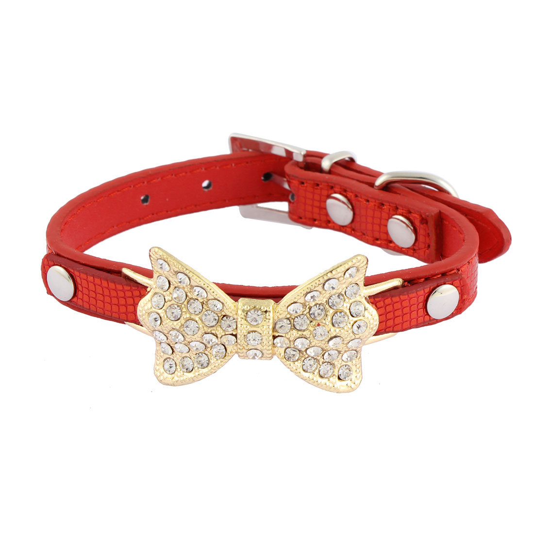 Alligator Pattern Bow Detail Rhinestone Decor Pet Dog Kitty Collar 21.5-28cm Red