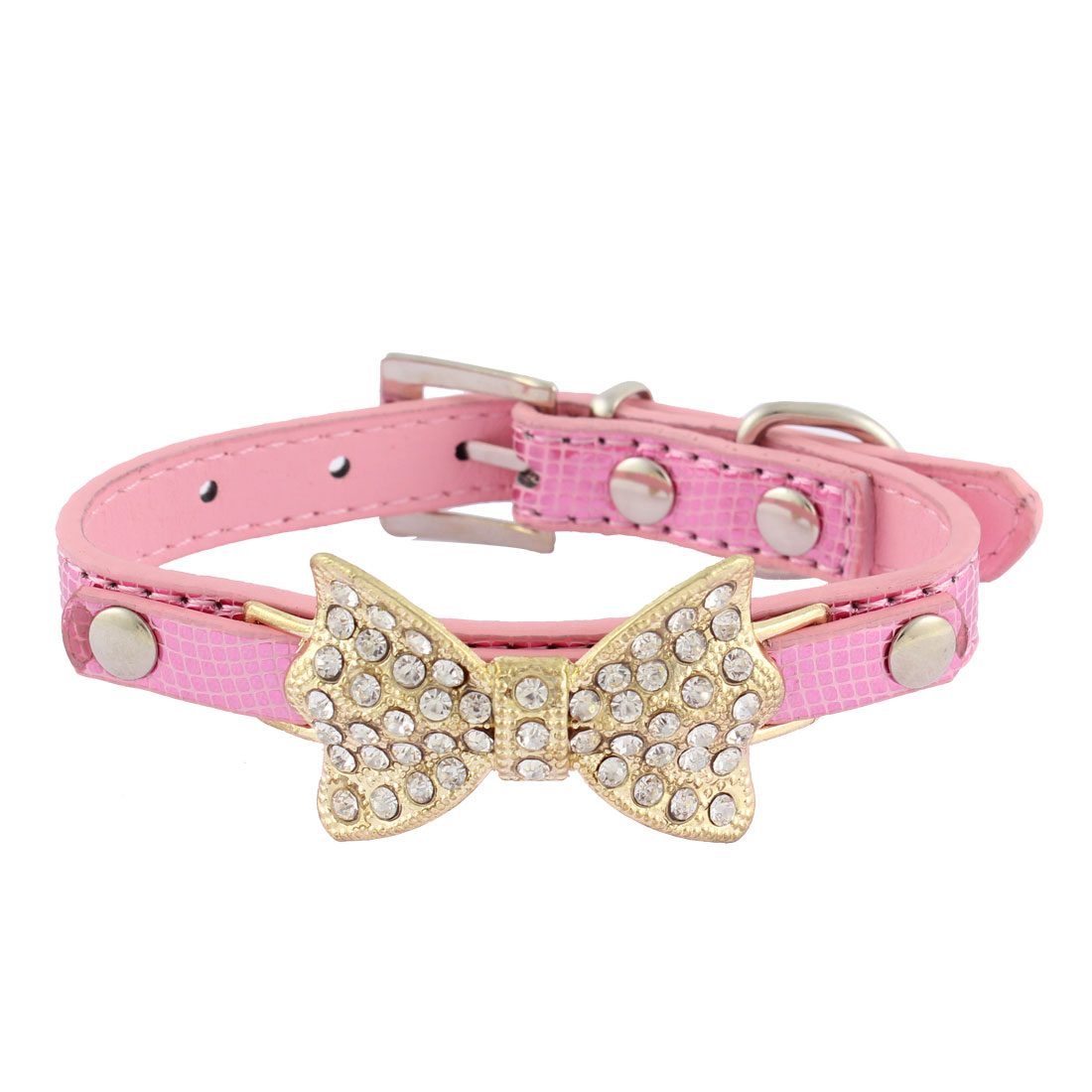 Alligator Pattern Bow Detail Rhinestone Decor Pet Dog Kitty Collar 21.5-28cm Pink
