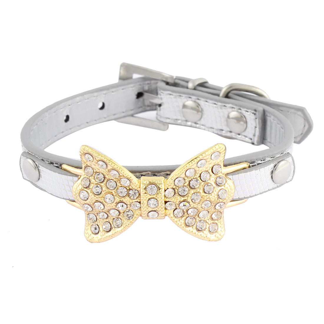 Alligator Pattern Bow Detail Rhinestone Decor Pet Dog Kitty Collar 21.5-28cm Silver Tone