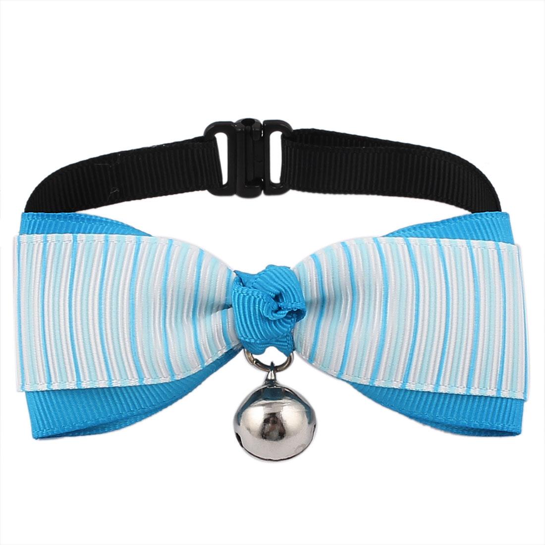 Pet Cat Puppy Strap Pattern Bowknot Adjustable Bowtie Necktie Collar Blue