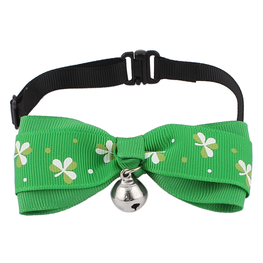 Pet Dog Cat Clover Pattern Bowknot Bell Pendant Bowtie Necktie Collar Green