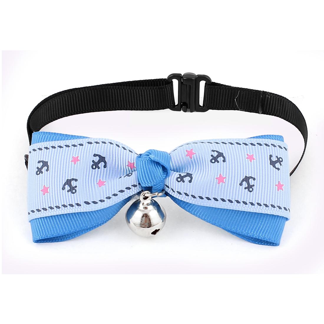 Pet Dog Cat Puppy Anchor Pattern Bowknot Bowtie Necktie Collar Blue
