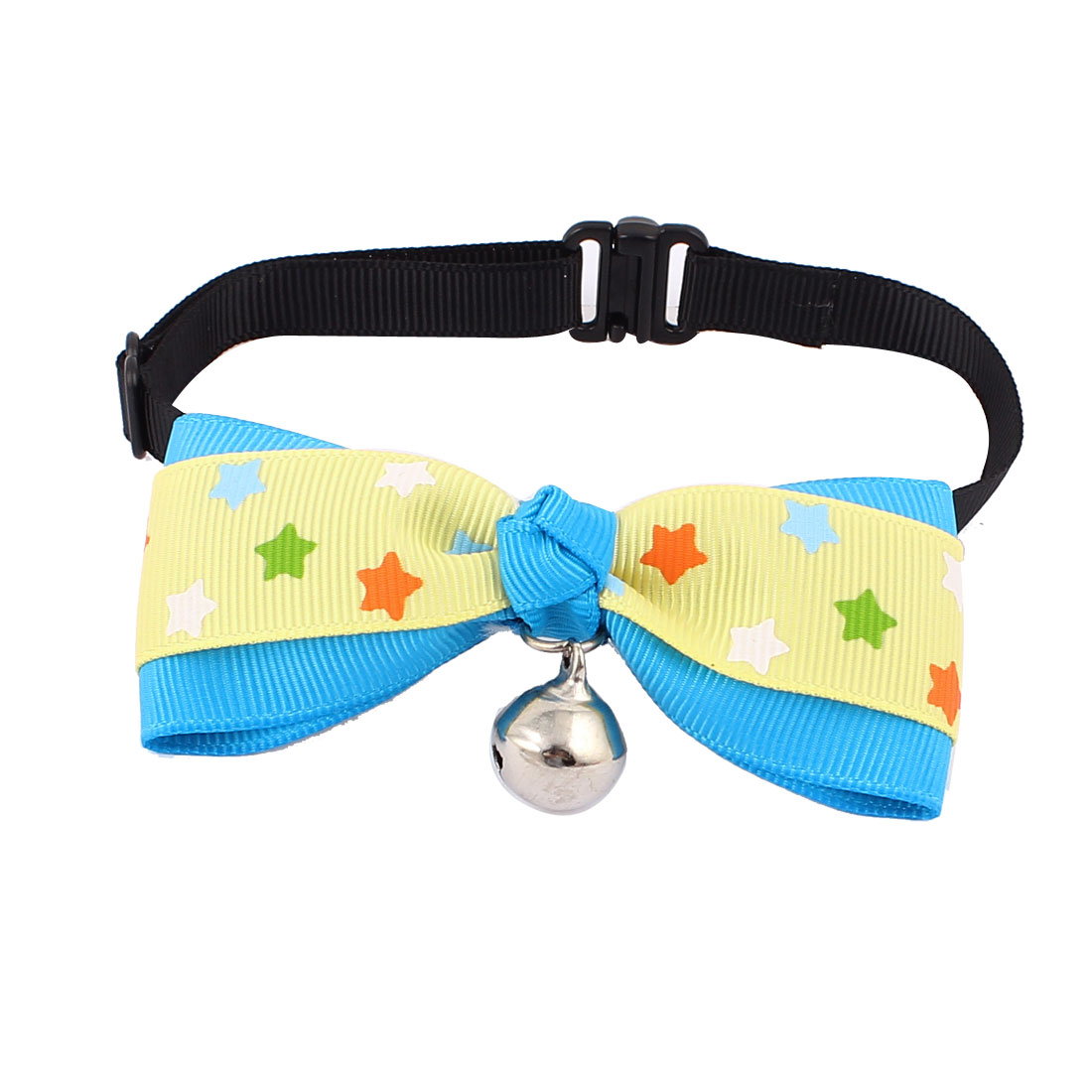 Pet Dog Puppy Stars Pattern Bowknot Bell Pendant Bowtie Necktie Collar Yellow