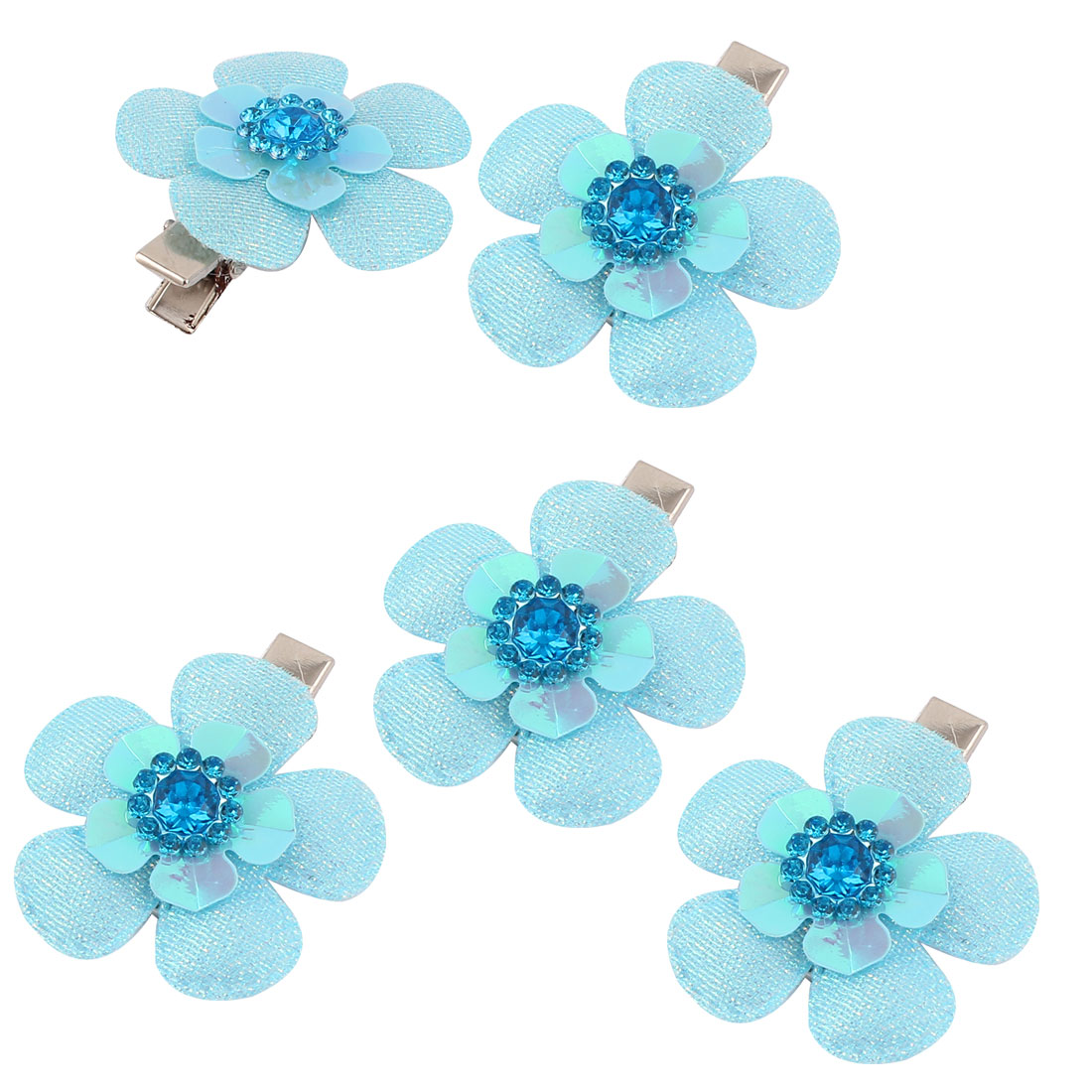 Pet Dog Flower Shaped Hair Grooming Hairpin Headdress Clips 5 Pcs Blue