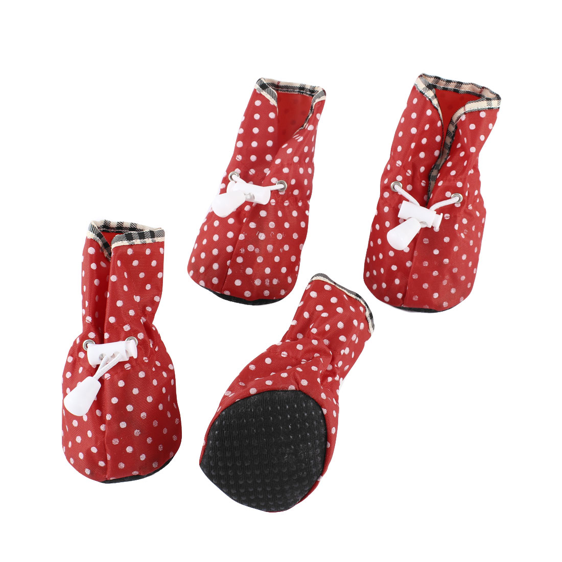 2 Pairs Pet Dog Dots Print Drawstring Closure Non Slip Sole Shoes Booties Red S