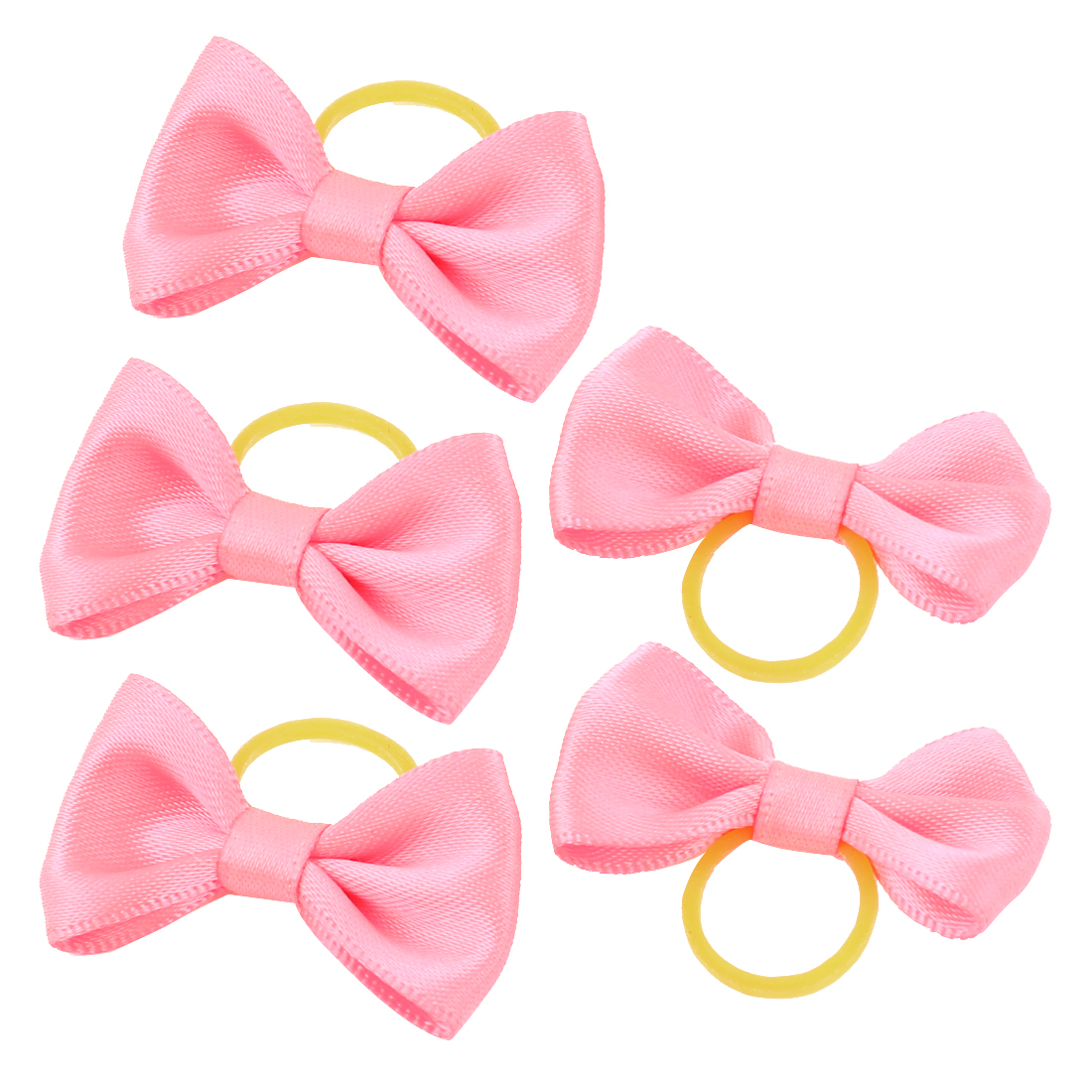 Pet Dog Puppy Hair Grooming Bowknot Rubber Bands Clips Hairpins Bow Pink 5 Pcs
