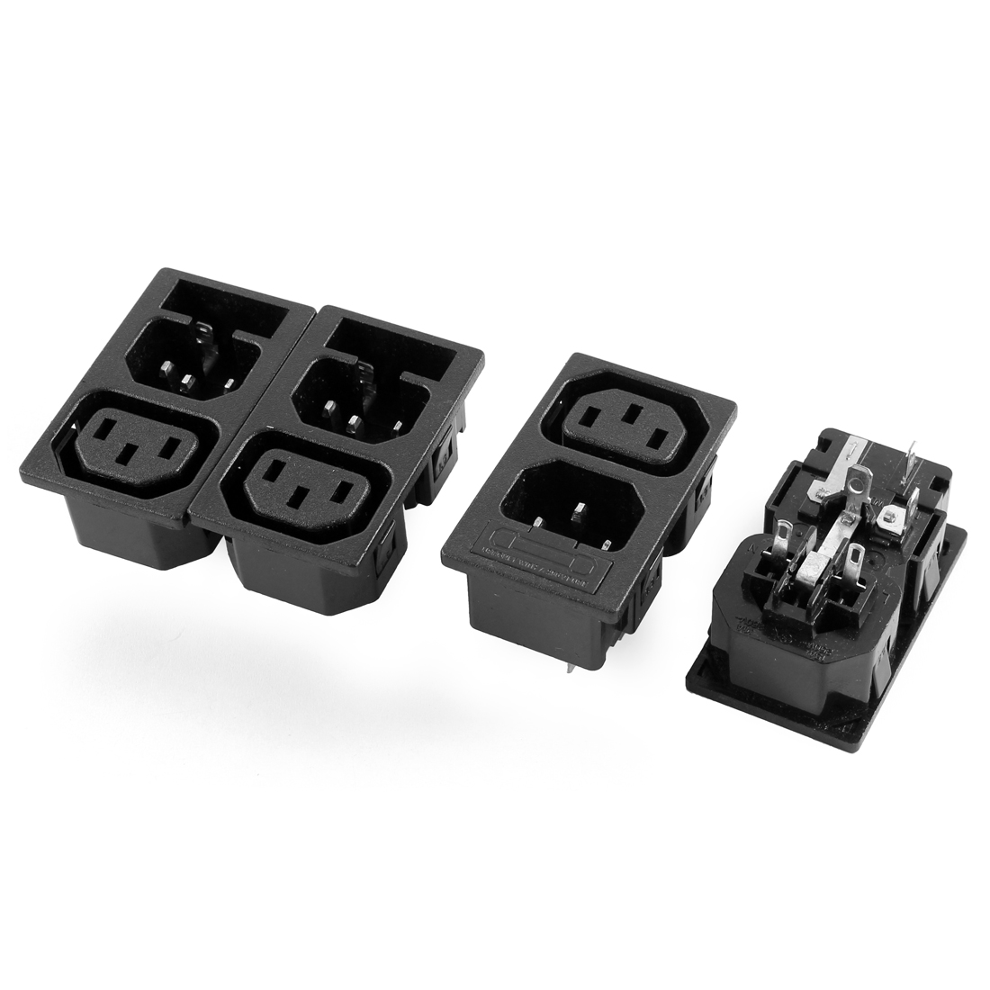 4Pcs AC 250V 10A Black Inlet Power Socket Adapter w Fuse Holder