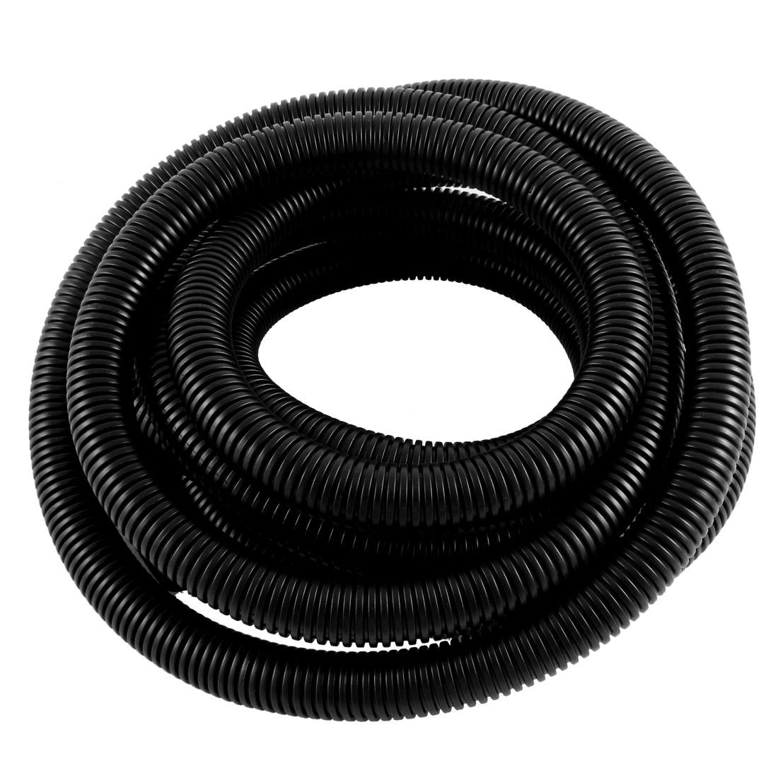 Black Flexible Corrugated Tube Hose Tubing 21.2mm OD 4m Length