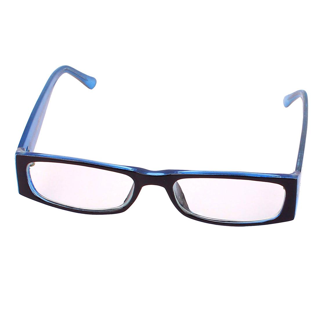 Plastic Single Bridge Clear Lens Plain Spectacles Glasses Eyewear Black Blue