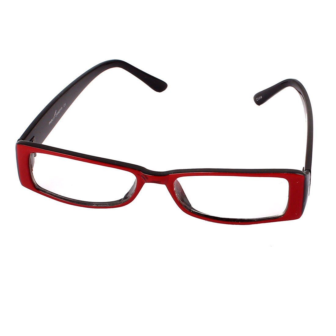 Rectangle Slim Frame Clear Lens Spectacles Eyewear Eyeglasses Red Black