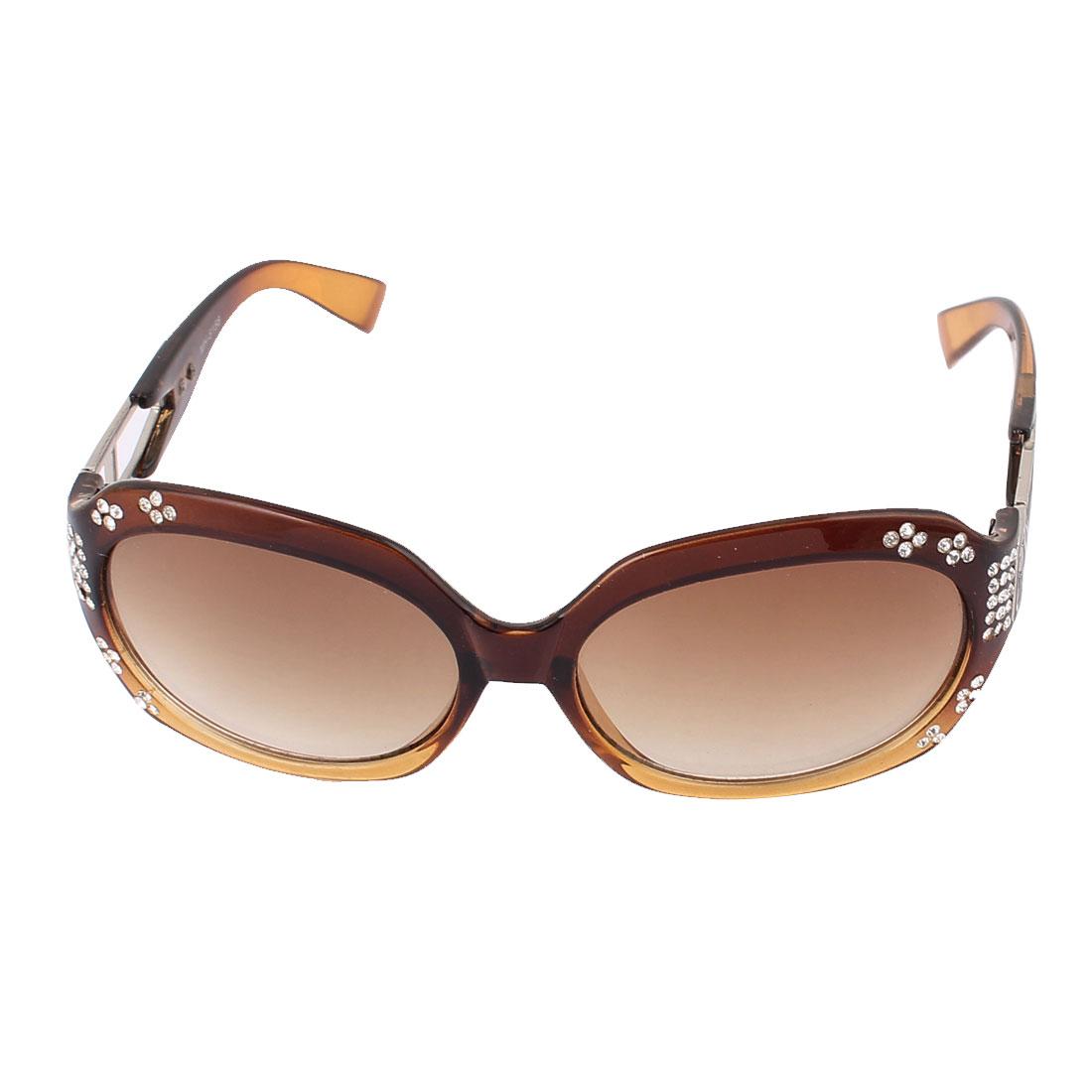 Lady Full Rim Single Bridge Light Brown Lens Eyeglasses Sunglasses