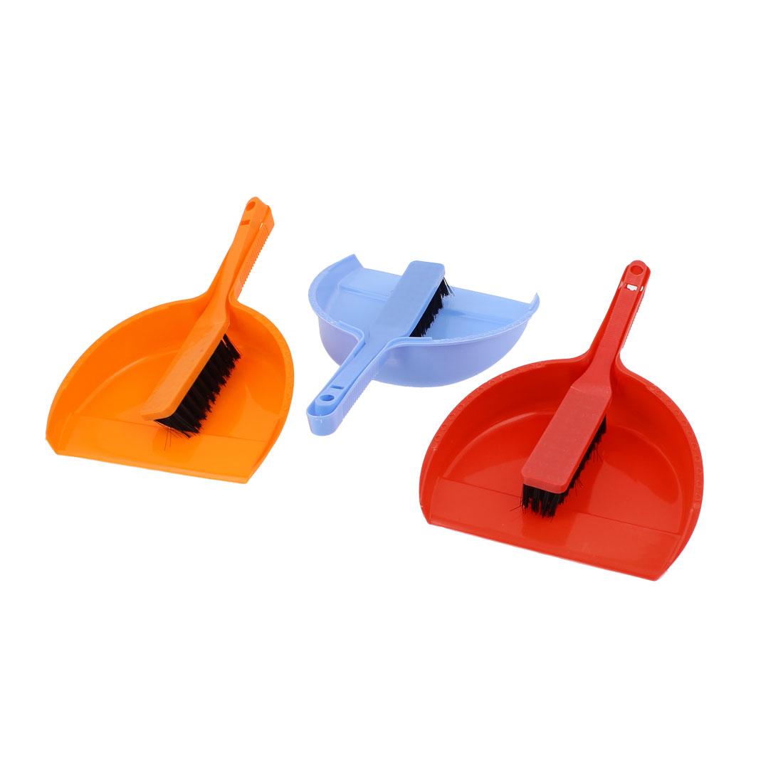 Desk Table Mini Computer Keyboard Brush Dustpan Cleaner Orange Red Blue 3 Sets