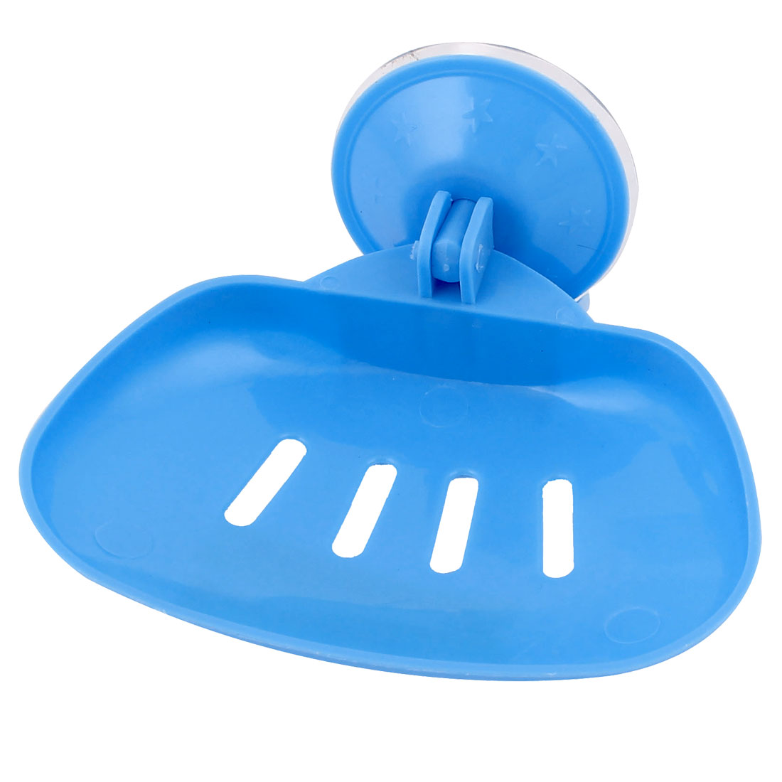 Household Bathroom Wall Hollow Out Plastic Suction Cup Soap Dish Holder Blue