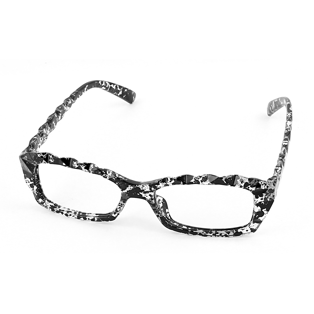 Geek Faceted Carved Plastic Decorative Lensless Glasses Eyeglasses Frame Black