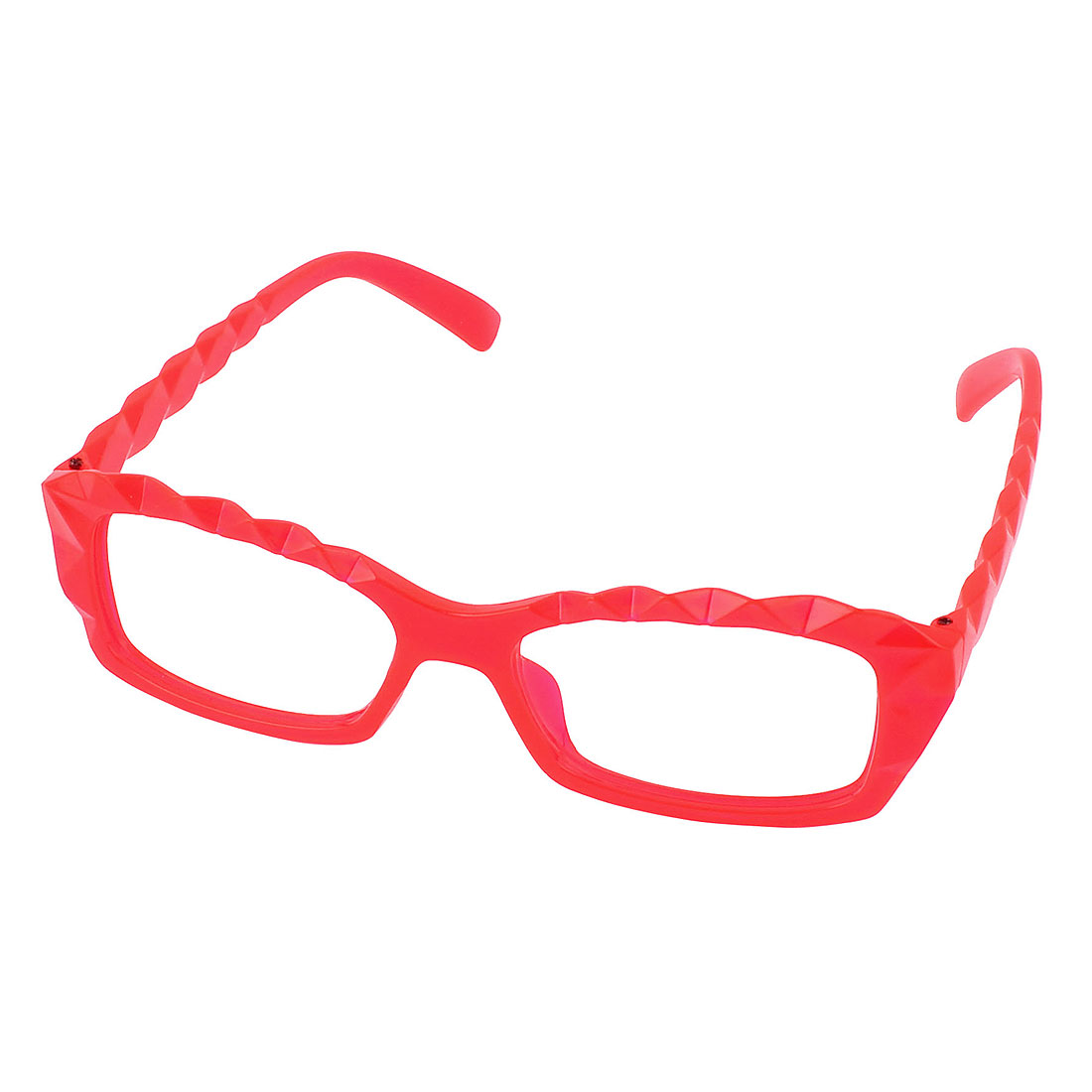 Lady Geek Plastic Faceted Decorative Lensless Glasses Eyeglasses Frame Red