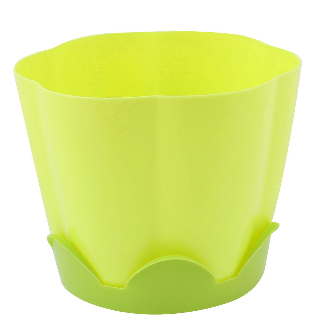 Yellow Petal Shape Resin Plant Flower Pot Planter Flowerpot Decor 13 x 10.5cm