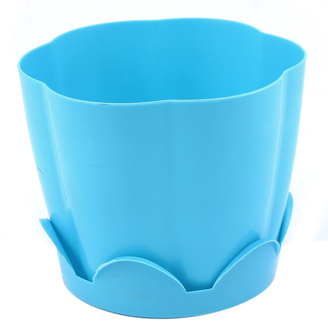 Blue Petal Shape Resin Plant Flower Pot Planter Flowerpot Decor 13 x 10.5cm
