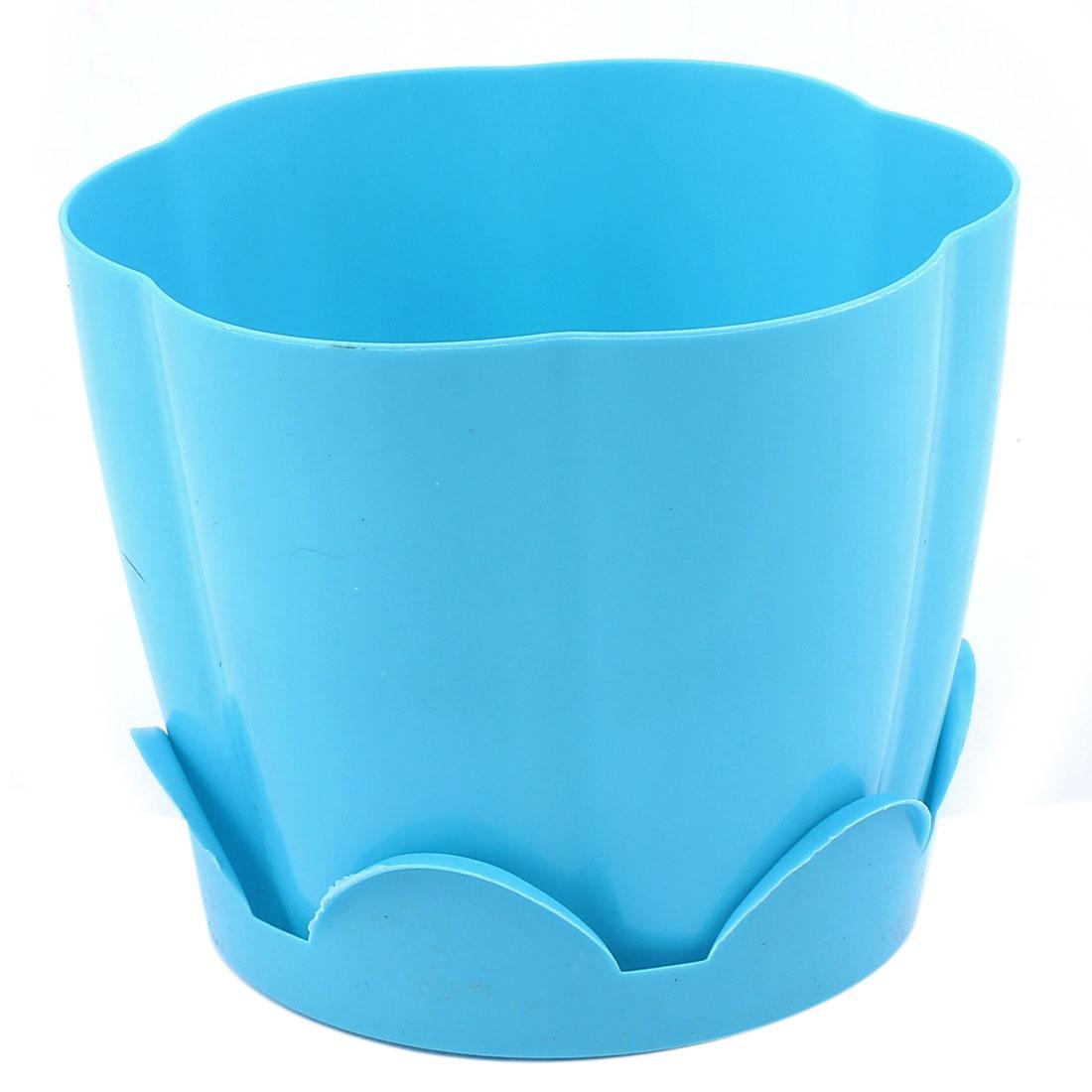 Blue Petal Shape Resin Plant Flower Pot Planter Flowerpot Decor 13 x 10.5cm
