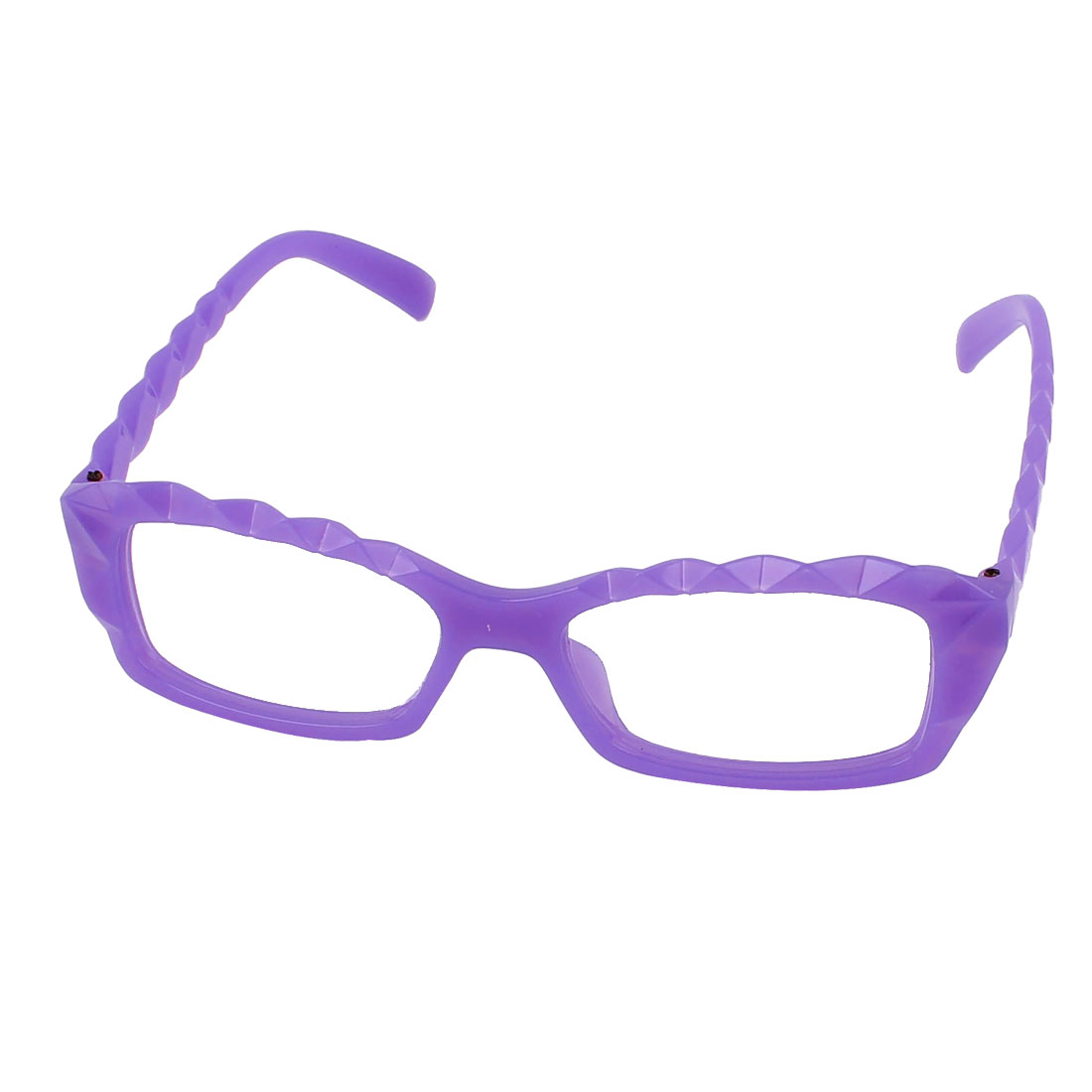 Lady Geek Plastic Faceted Decorative Lensless Glasses Eyeglasses Frame Purple