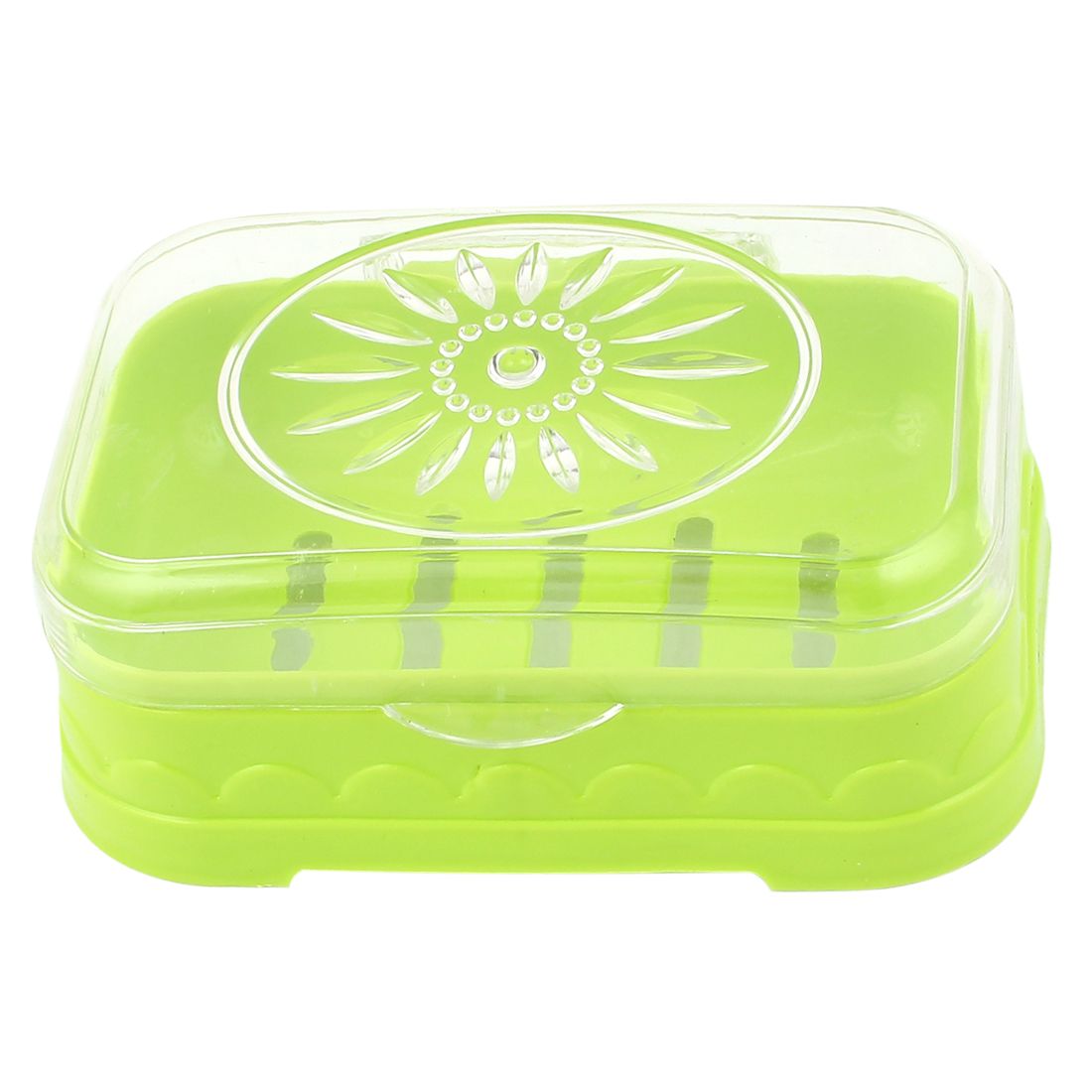 Green Clear Plastic Hollow Out Bottom Rectangular Soap Dish Holder Container Box