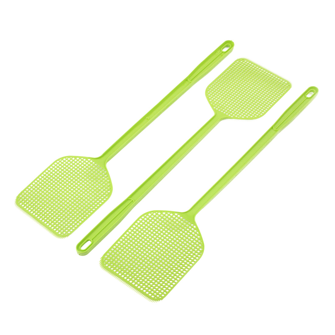 3pcs Yellowgreen Plastic Fly Swatter Bug Mosquito Insect Killer Catcher 45cm