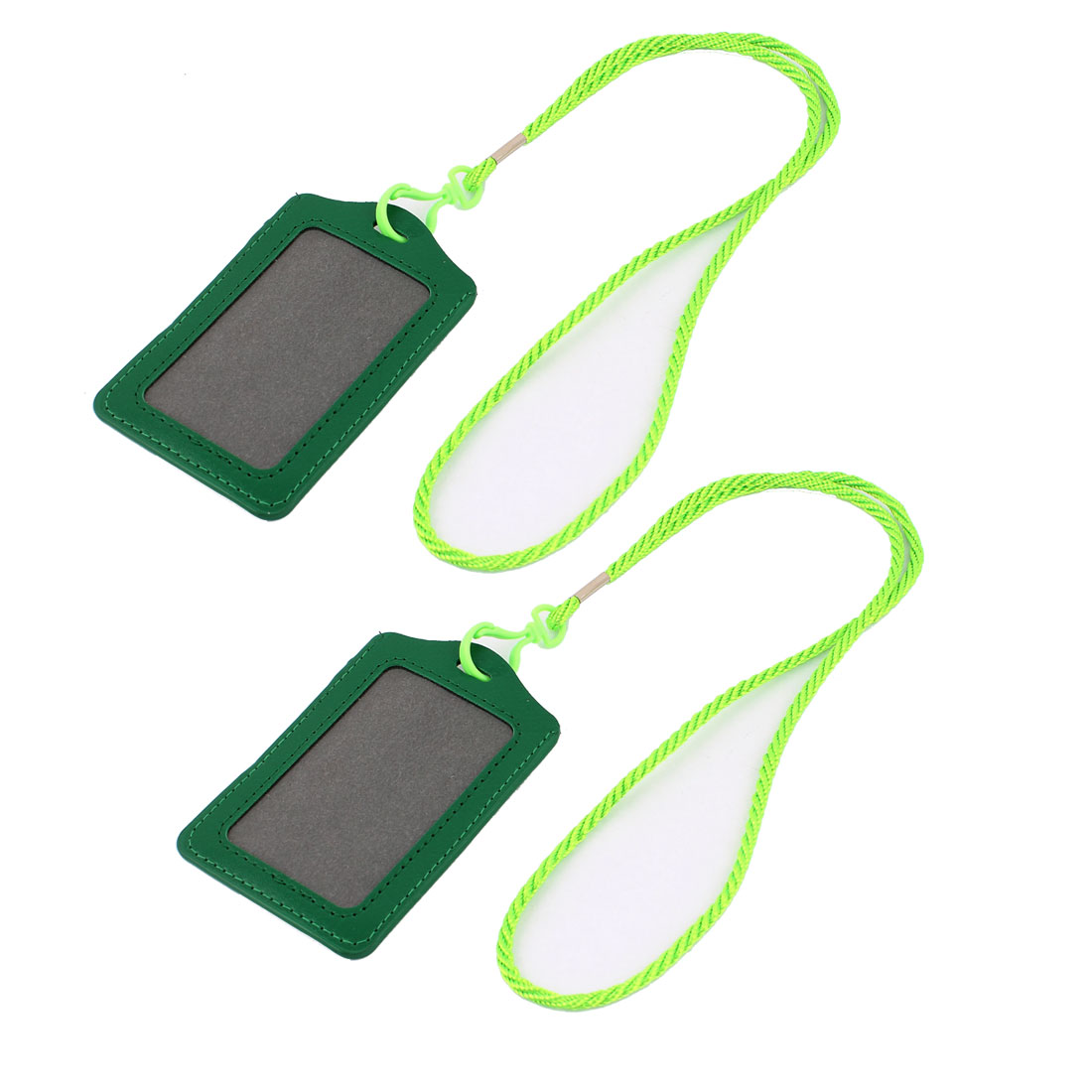 2pcs Green Vertical Name Tag ID Work Card Badge Holder w Neck Strap Lanyard