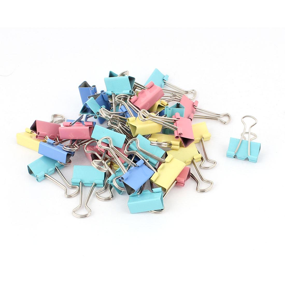 Office 19mm Wide Paper File Ticket Spring Binder Clips Assorted Color 40pcs