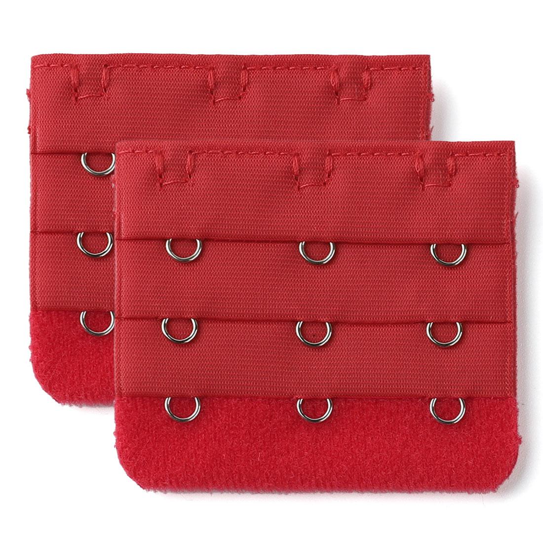 Woman 3 Rows 3 Hooks Brassiere Bra Underwear Extension Strap Extender Red 2pcs