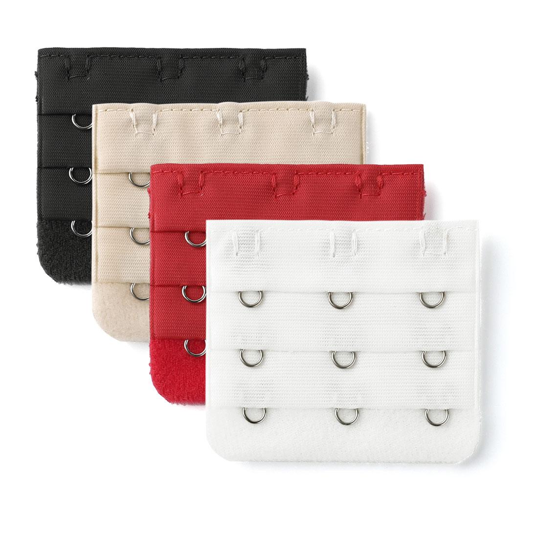Woman 3 Rows 3 Hooks Brassiere Bra Extension Strap Extender Multicolor 4pcs