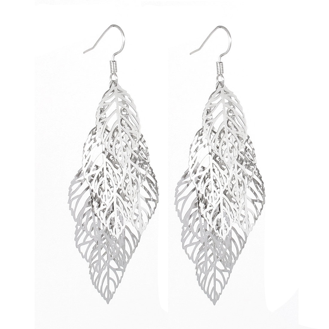 Lady Leaves Design Drop Dangle Fish Hook Earring Ear Decor Pair Silver Tone