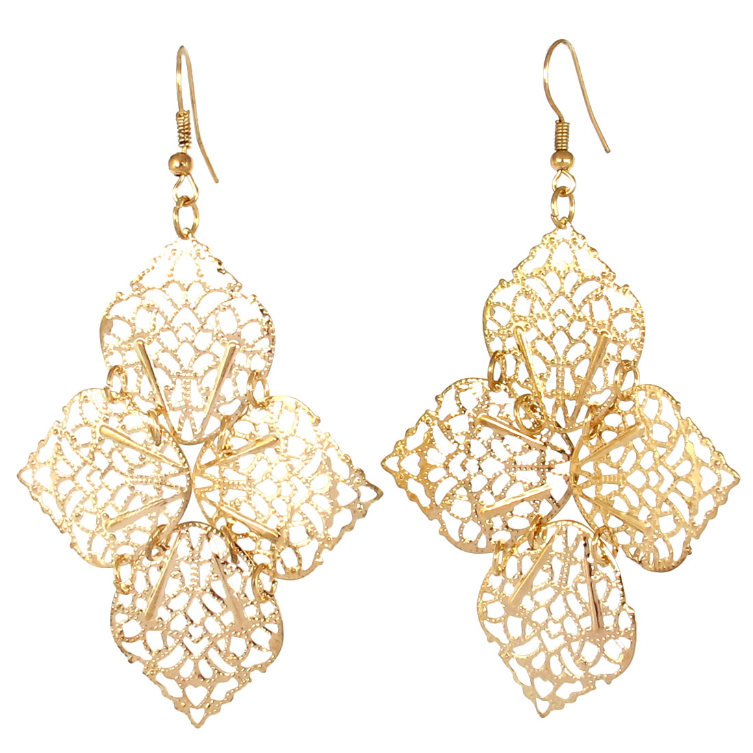 Flower Leaves Style Drop Dangle Fish Hook Earring Ear Decor Pair Gold Tone