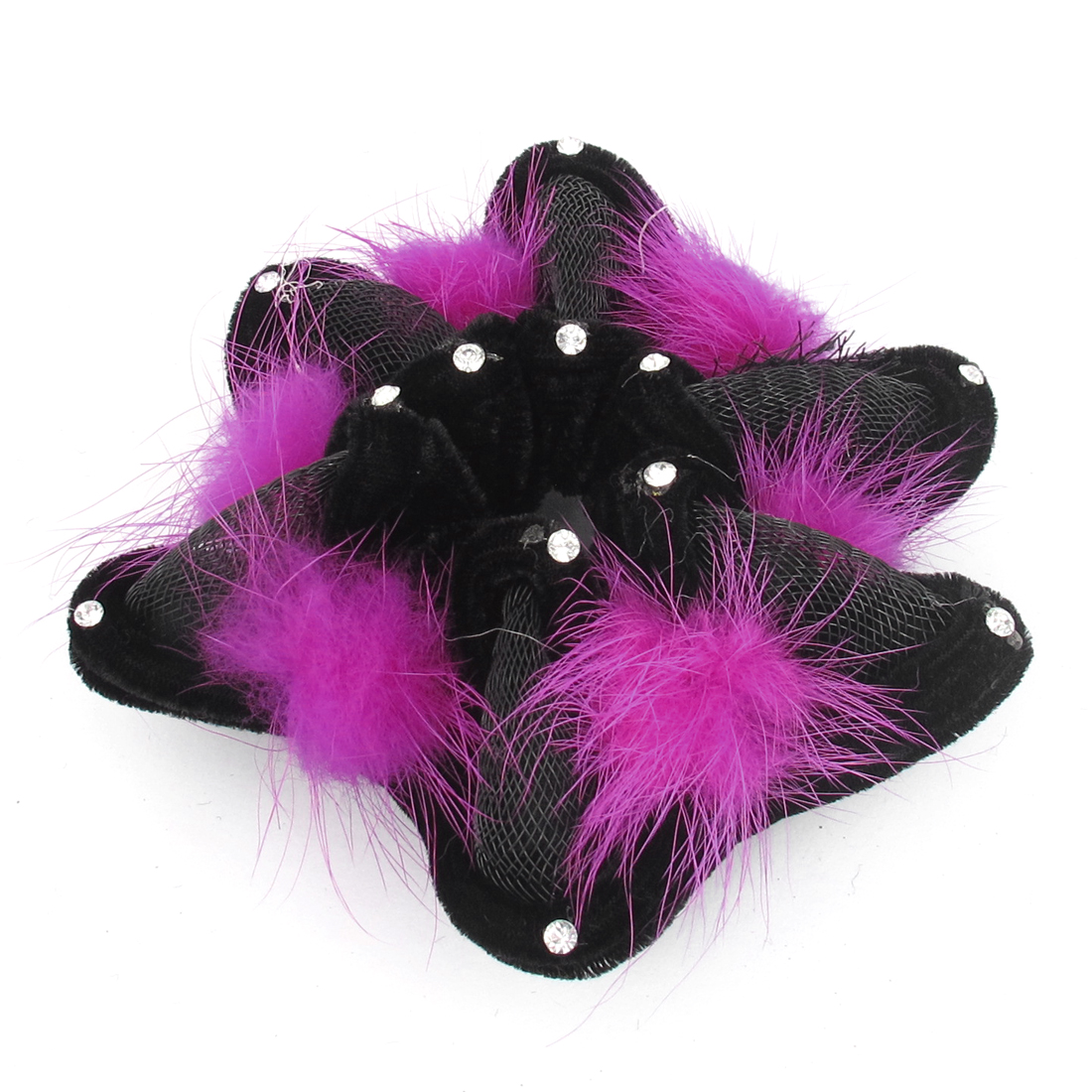 Fuchsia Plush Ball Decor Star Shape Elastic Ponytail Hair Holder for Women