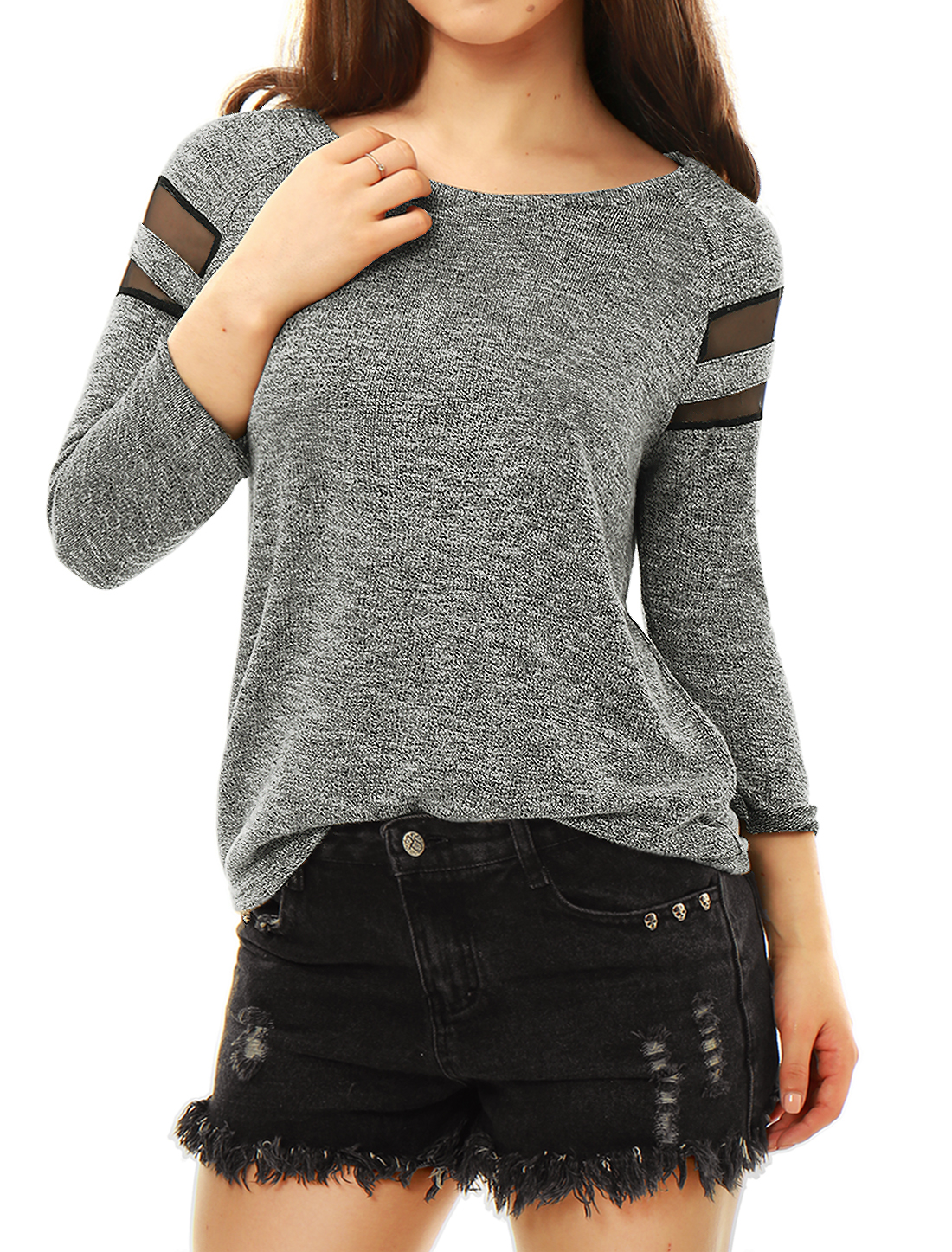Women Mesh Panel Long Sleeve Scoop Neck Leisure T Shirts Heather Gray XL