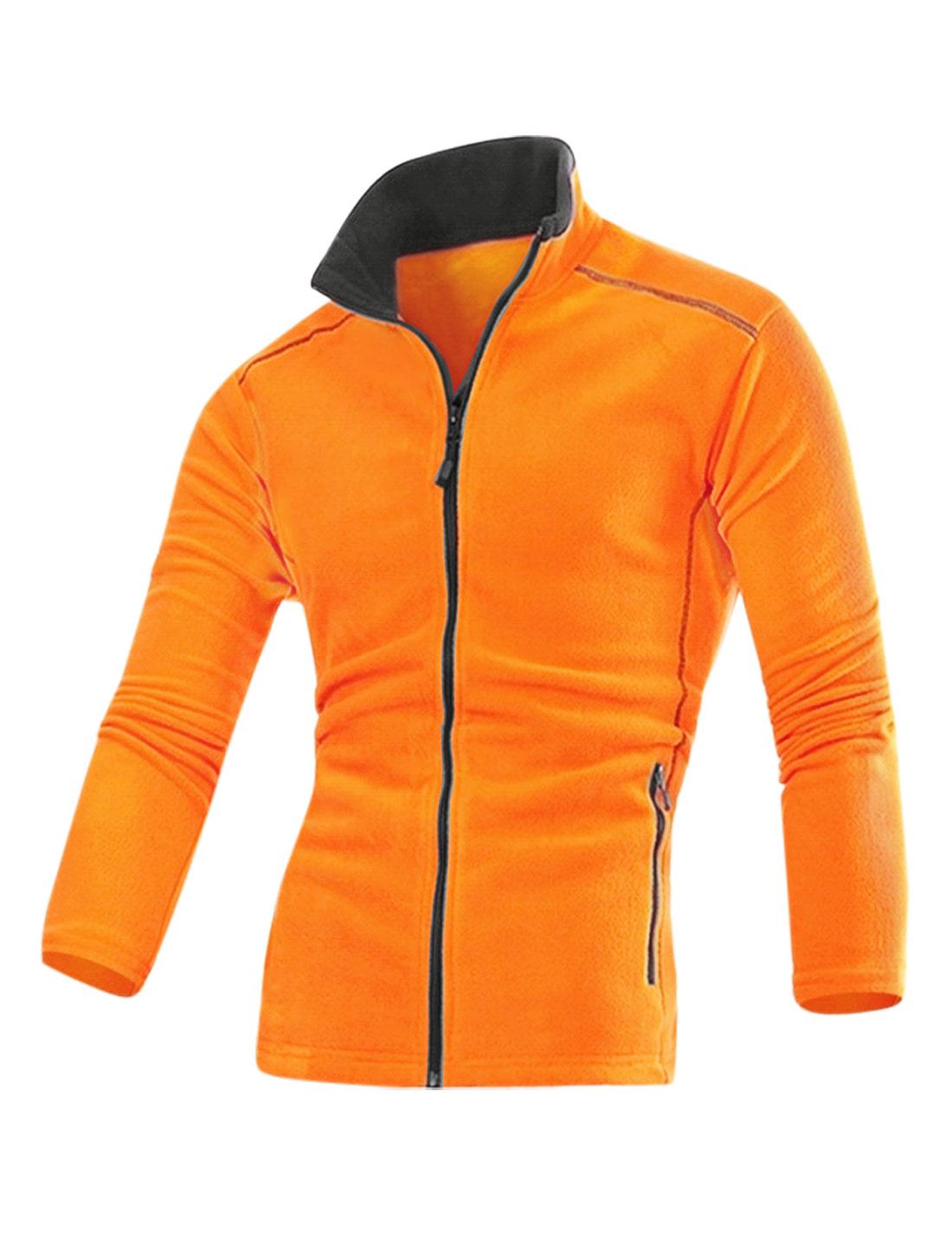 Men Long Sleeves Zip Up Stand Collar Slant Pockets Fleece Jacket Orange M