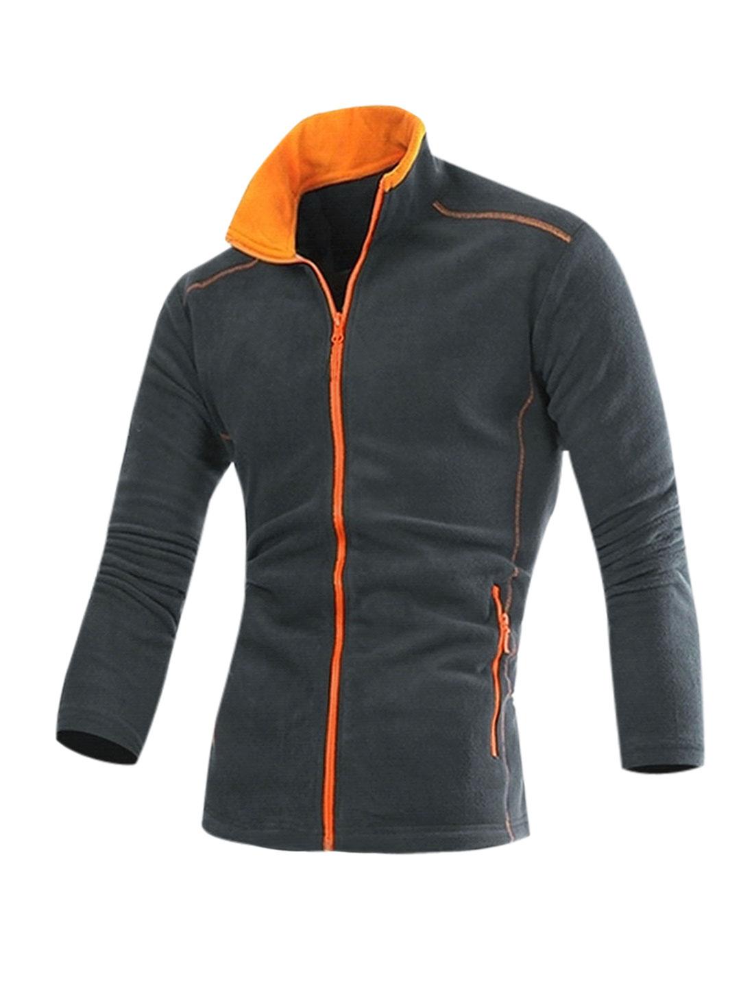 Men Long Sleeves Stand Collar Pocketed Casual Fleece Jacket Dark Gray M