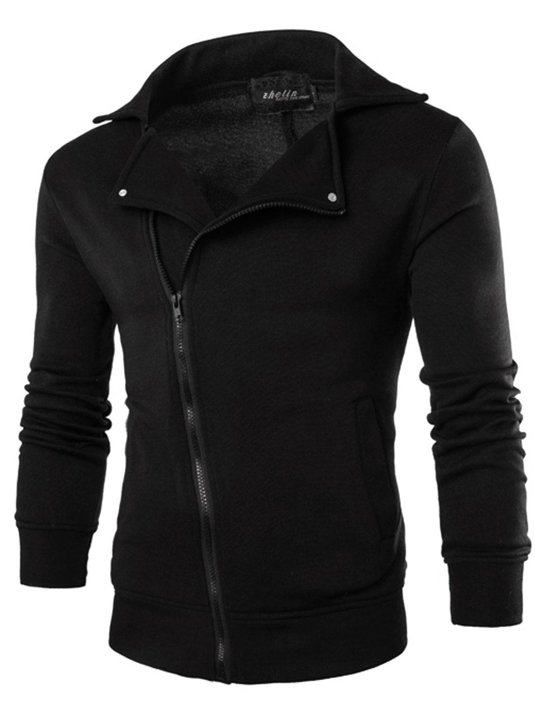 Men Inclined Zipper Turn Down Collar Side Pockets Jacket Black M