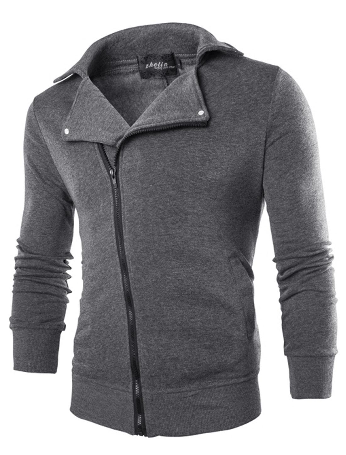 Men Inclined Zip Closure Turn Down Collar Casual Jacket Dark Gray M