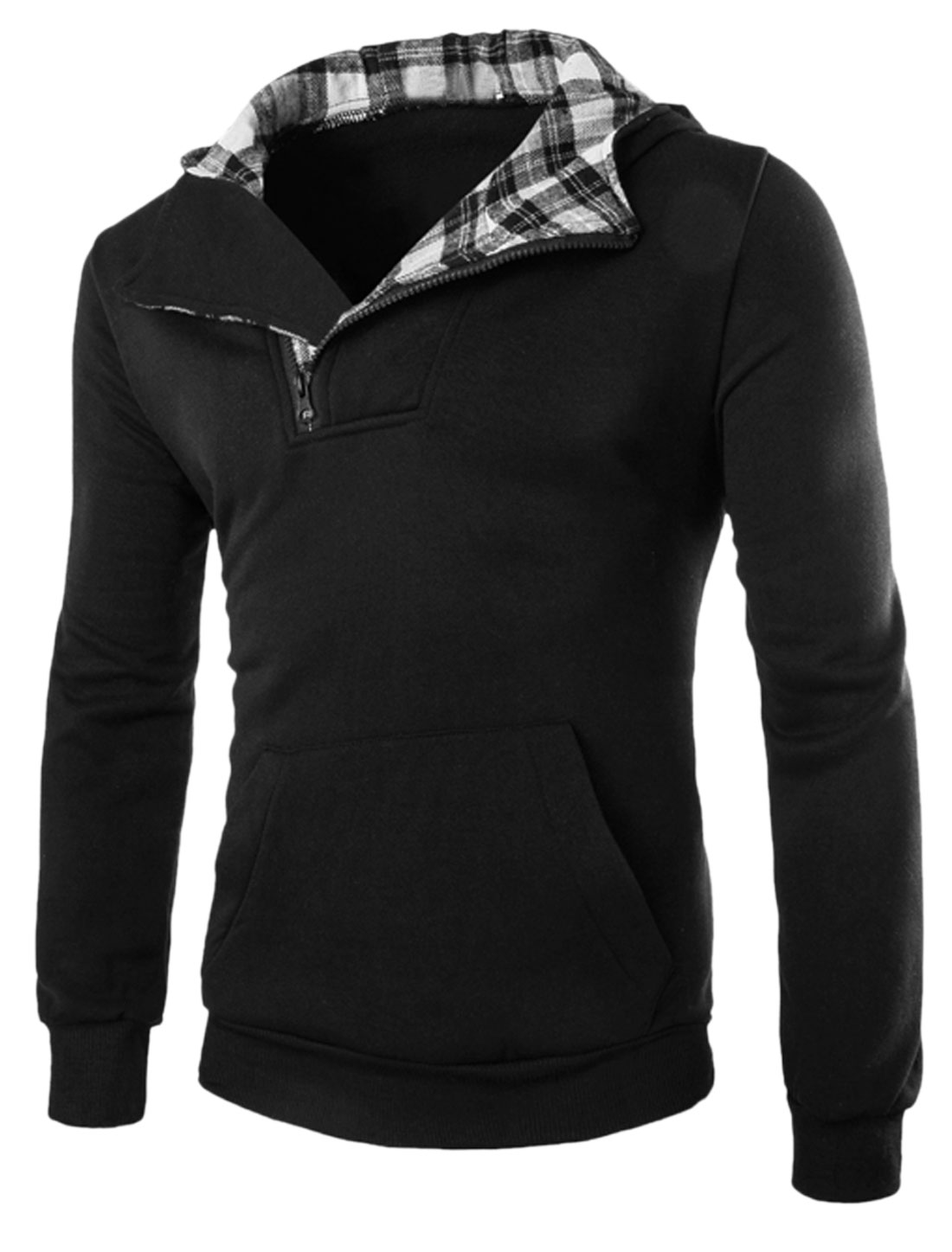 Men Plaids Detail Half Zip Closure Kangaroo Pocket Front Hoodie Black M