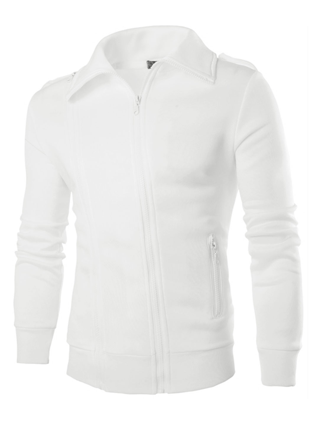 Men Convertible Collar Soft Lined Zip Closure Basic Jacket White M