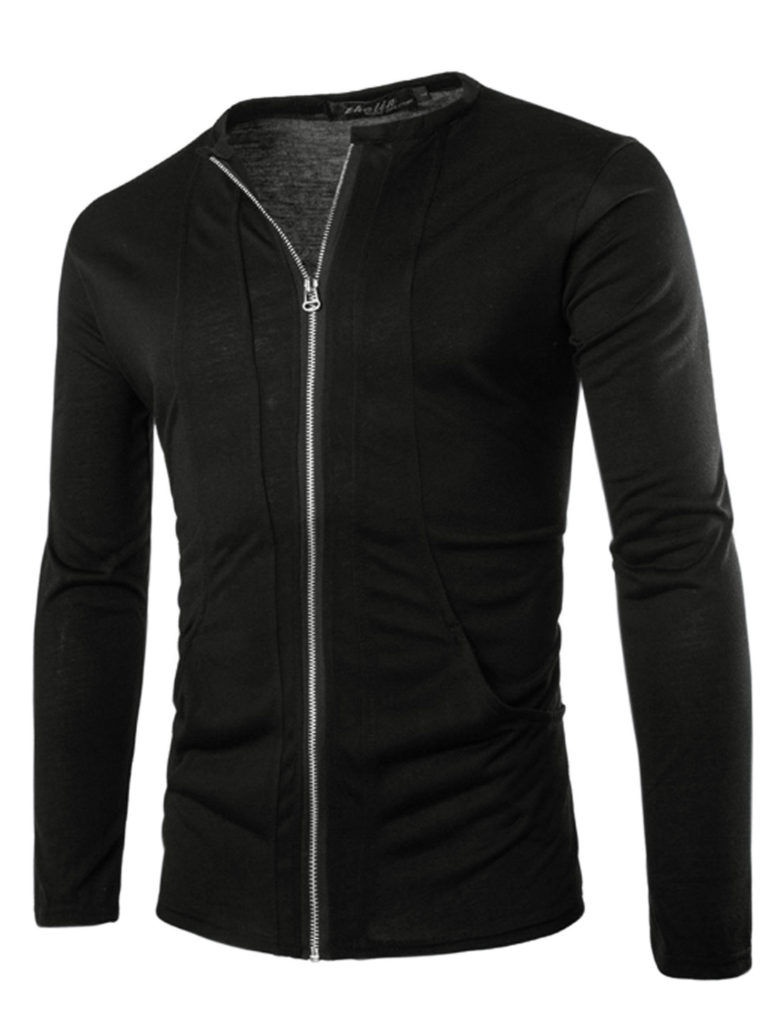 Men Long Sleeve Zip Closure Front Pockets Slim Fit Casual Jacket Black M