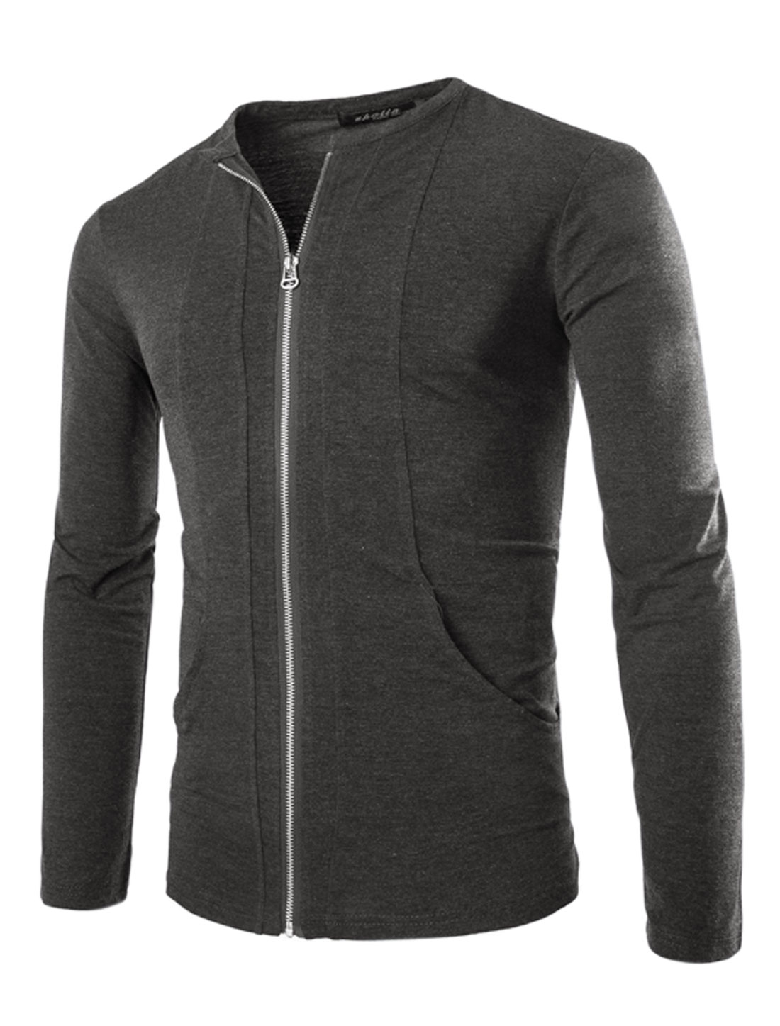 Men Long Sleeve Zip Closed Front Pockets Slim Fit Jacket Dark Gray M