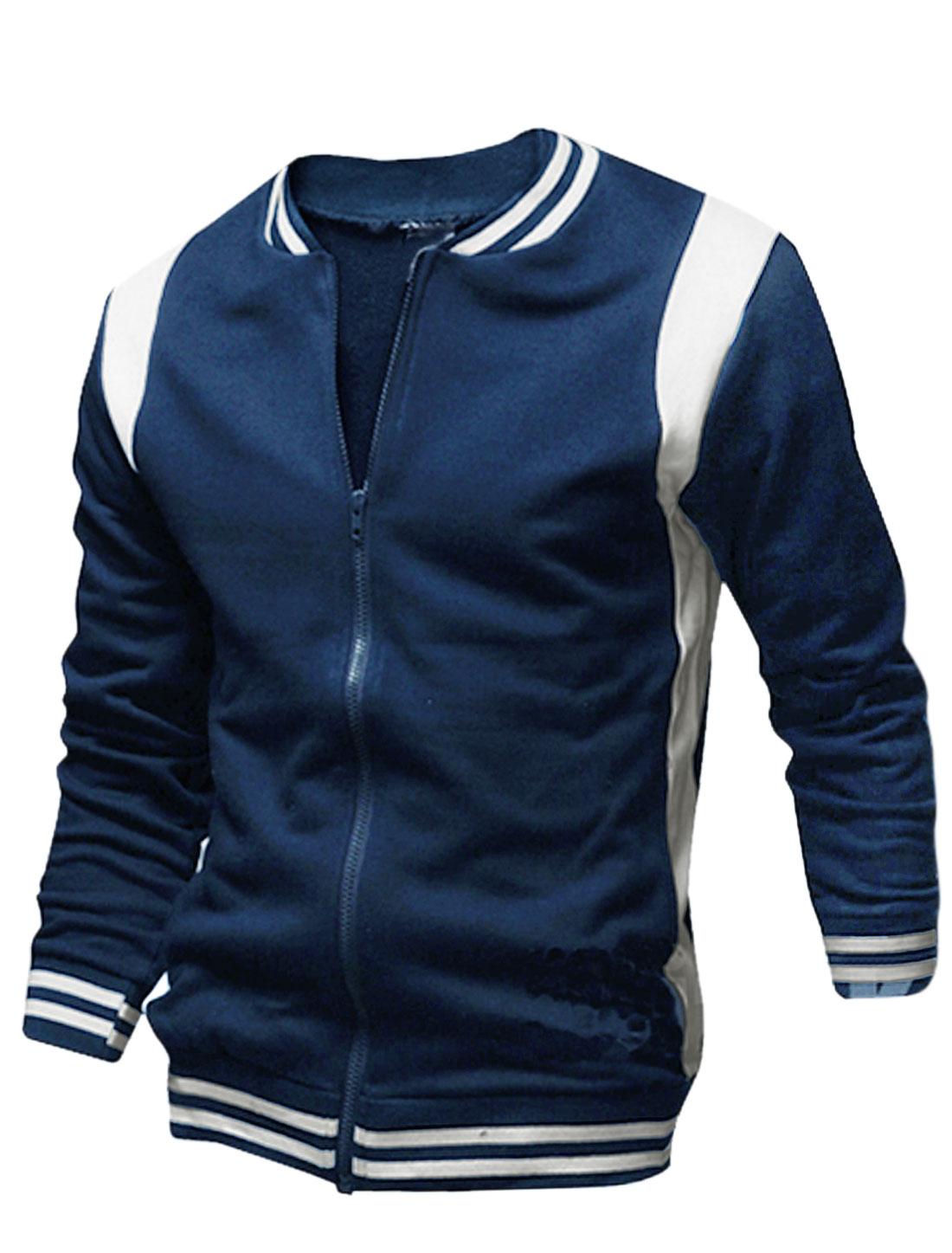 Men Contrast Color Stand Collar Ribbed Trim Baseball Jacket Navy Blue M