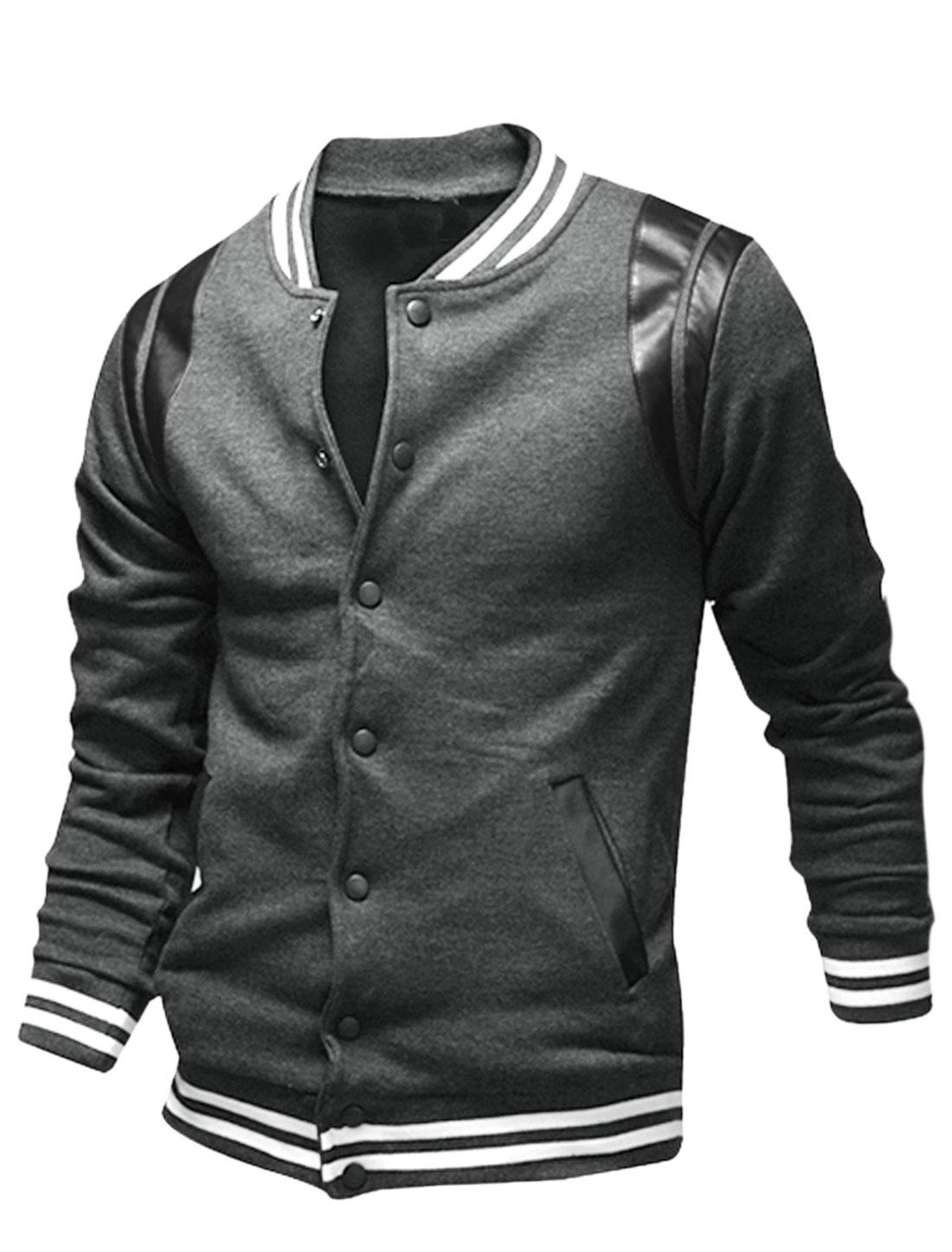 Men Imitation Leather Panel Detail Snap Button Closed Varsity Jacket Gray M