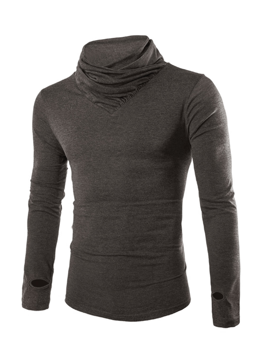 Men Cowl Neck Long Sleeves Casual Basic Tee Dark Gray M