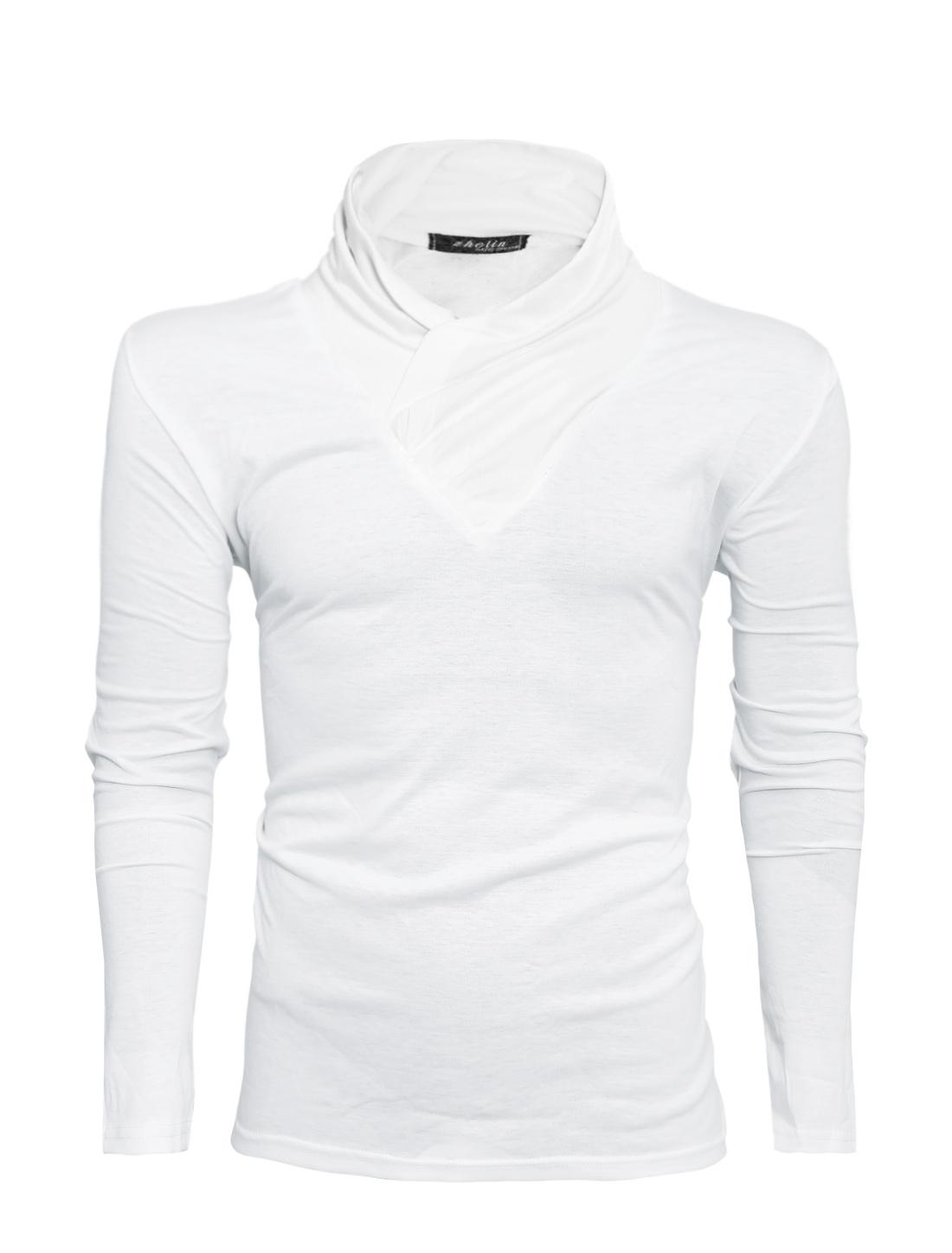 Men Long Sleeve Slim Fit Casual T-Shirt Sweatshirt White M