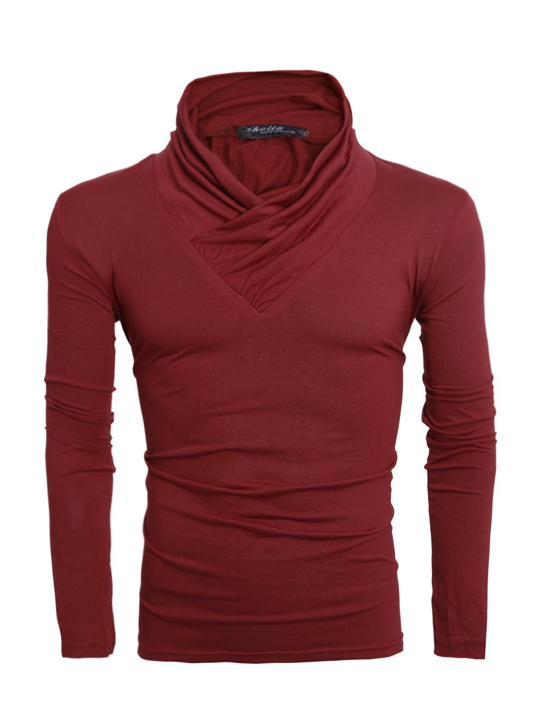 Men Turn Down Collar Long Sleeve Slim Fit Tee Burgundy M