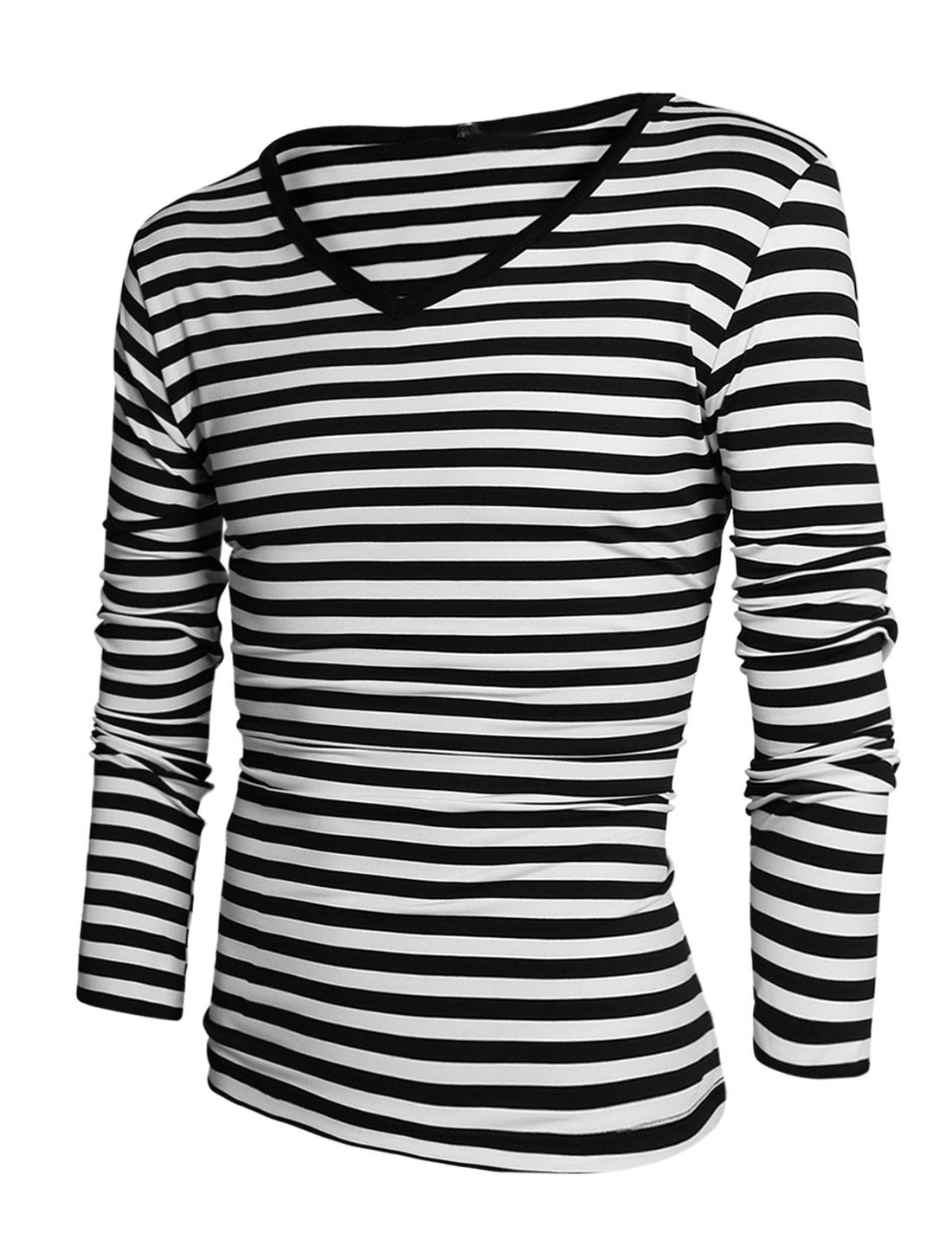 Men Stripes V Neck Long Sleeves Casual Piped Tee Shirt White Black M