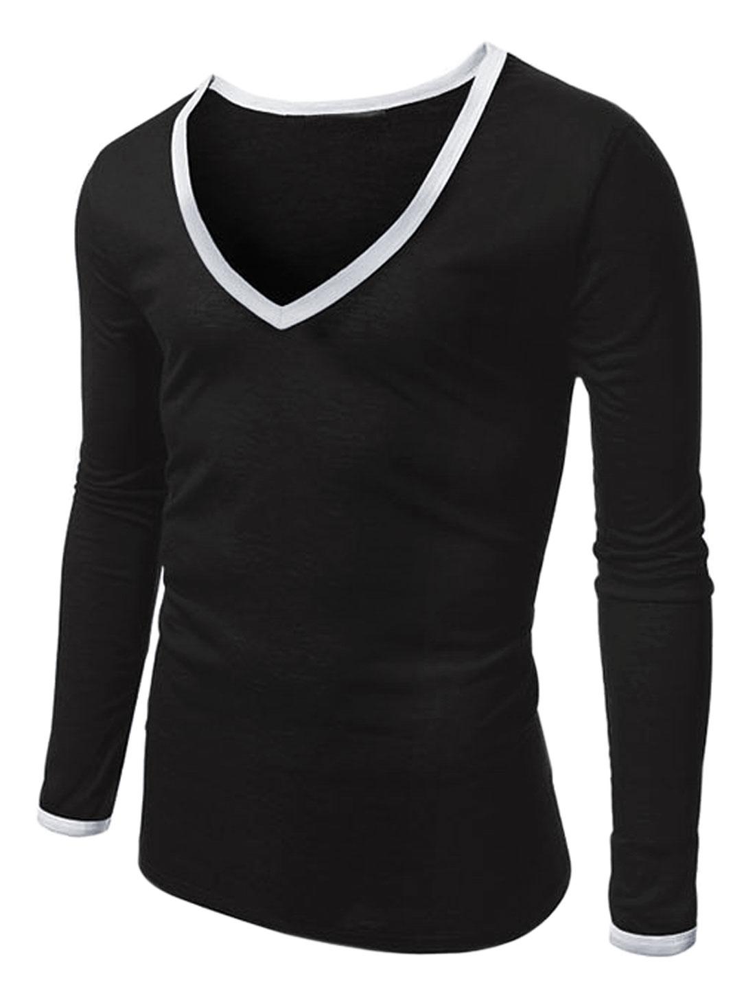 Men V Neck Long Sleeves Leisure Piped Tee Shirt Black M