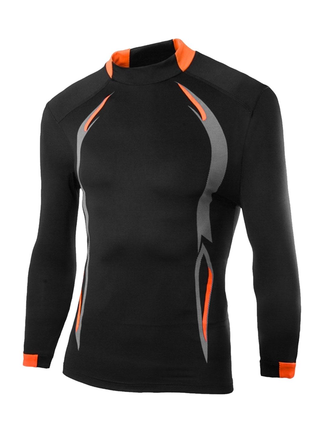 Men Contrast Color Novelty Prints Stretchy T-Shirt Black Light Gra