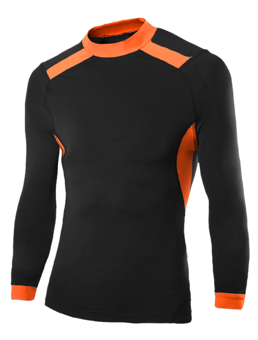 Men Contrast Color Stretchy Long Sleeves Sports T-Shirt Black M